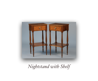 Nightstand with reeded legs two drawer nightstands, custom end table reproduction end table