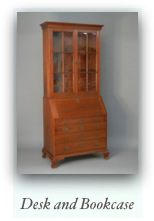 Reproduction Desk and Bookcase 18th Century Secretary