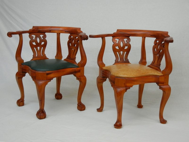 Chippendale Corner Chairs Reproduction Newport Corner Chair Doucette Wolfe  Furniture Makers Roundabout Chair