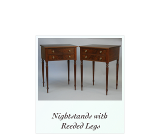 Walnut Nightstands Seymour inspired Reeded Leg Nightstand New England Museum Quality reproduction Furniture Makers