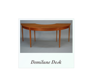 Demilune Desk handmade of solid mahogany