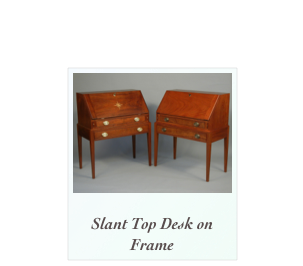 Desk on Frame made of mahogany, tiger maple, cherry and walnut