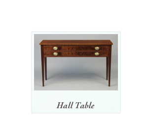 Hepplewhite Hall Table Custom made fine furniture, Walnut, mahogany, tiger maple, birdseye maple, cherry,