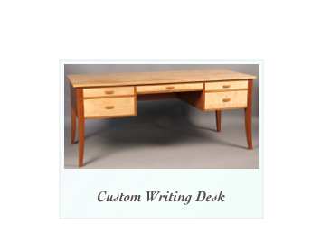 handmade custom writing desk handcrafted cherry tiger maple