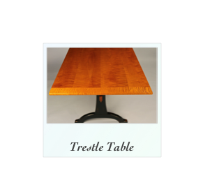 Tiger Maple Trestle Table Curly Maple, NH, Maine, NY, RI, Mass, PA, Virginia, Maryland
