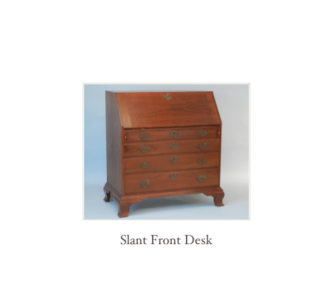 Slant Front Desk, reproduction desk, colonial desk, 18th century desk, Queen Anne desk, Chippendale Desk