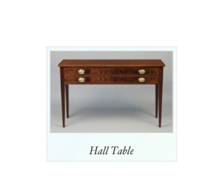 Walnut and Crotch Walnut Hall table