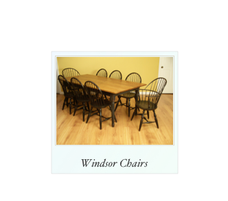 Windsor Chairs and Table made of Cherry, Maple, and oak